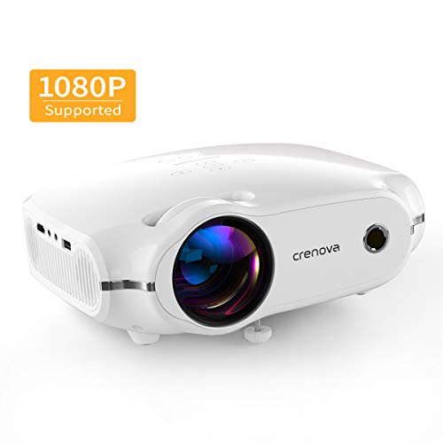Crenova Mini Projector,1080P Full HD Supported Portable Phone Projector,4500 Lux Movie Projector for Home Theater, Outdoor HDMI Projector with Max 200' Projection Size, Compatible with iPhone, iOS