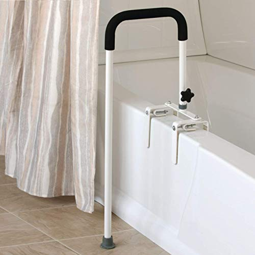 Sammons Preston 53286 Floor to Tub Bath Rail, Curved Grab Bar with 200 lbs Capacity for Shower or Bathtub, Rail Clamps and Tightens to Tub Wall, Fits Most Modern Bathtubs, 34