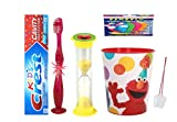 Sesame Street Elmo Inspired 4pc Bright Smile Hygiene Bundle Flashing Lights Toothbrush, Toothpaste, Brushing Timer &Mouthwash Rinse Cup! Plus Bonus Flossers &Tooth Necklace as Visual Aid!