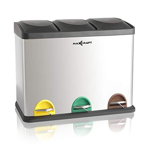 MAXCRAFT Cubo de Basura Cubo de Reciclaje Basurero Acero Inoxidable Cocina 3 Contenedores con Tapas Capacidad para 60 litros (3 x 20 litros)