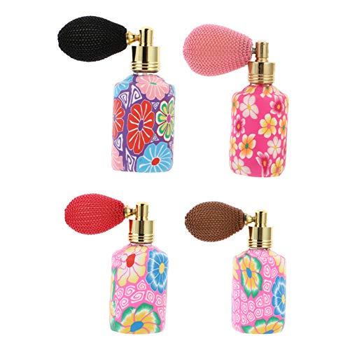 HEALLILY 4 Unidades de Botella de Perfume de Vidrio 15Ml de Arcilla Polimérica Airbag Spray Botella Rellenable Vacía Dispensador de Aceite Esencial para El Coche de Viaje (Color Aleatorio)