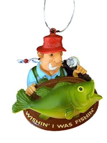 Trimmerry Wishin I was Fishin Christmas Tree Ornament Fisherman & Trophy Fish