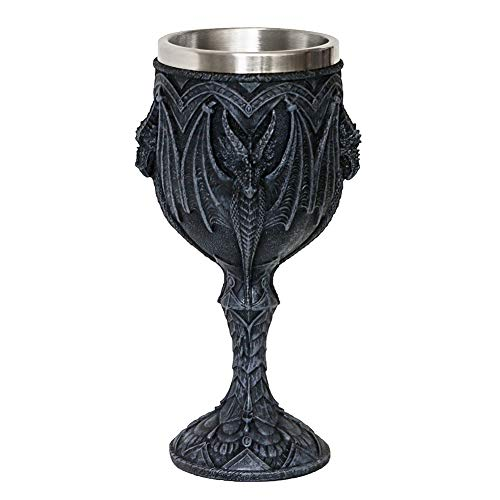 Medieval Gothic Dragon Wine Goblet - Dungeons And Dragons Chalice Cup - 7oz Stainless Steel Cup Drinking Vessel Ideal Novelty Celtic Gift For Dragon Collector Themed Party Decoration