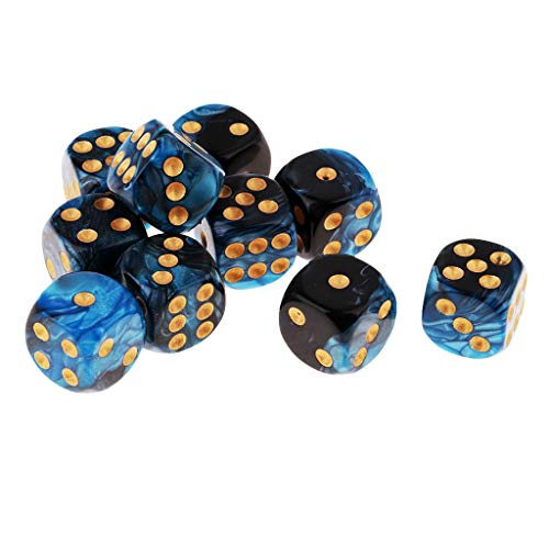 B Blesiya D6 Dados de 6 Caras para Juegos de Mesa Table Games Party (10 Piezas) - Azul + Negro