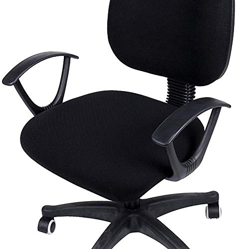 smiry Stretch-Sitzbezüge für Büro- und Esszimmer, Jacquard-Esszimmerstuhl, Stuhlhussen, Schwarz, Office