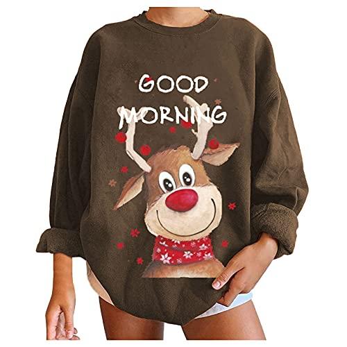 Damen Sweatshirt, Winter Weihnachten Top T-Shirt, Rundhals Langarm Print Sweatshirt, Basic Pullover Top, Tops für Frauen Teenager Mädchen Streetwear