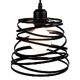 STOEX Suspension Luminaire Industrielle Design forme Ressort Cage Ø 20cm,Lampe de Plafond en Métal Fer Luminaire E27 40W, Noir...