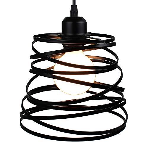STOEX Hängeleuchte, Industriedesign, Federform, Käfig, Ø 20 cm, Deckenlampe aus Metall, Eisen, E27 40 W, schwarz (ohne Leuchtmittel)