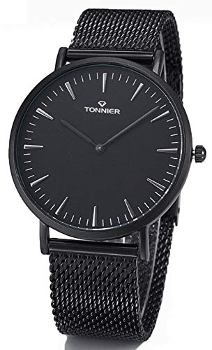 Tonnier Black Stainless Steel Slim Men Watch Quartz Watch Fashions Watches