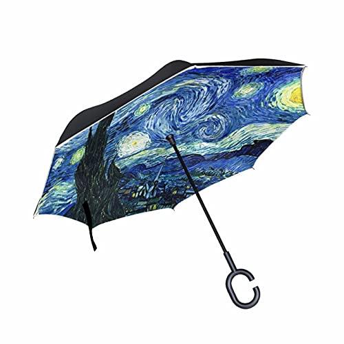 Pintura al óleo creativa a prueba de viento noche estrellada al revés paraguas doble capa invertido auto-portante paraguas carro, azul,