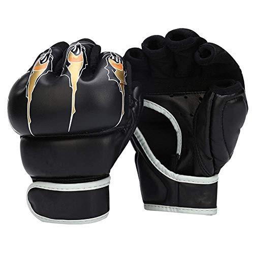 Qiutianchen Kampf Handschuhe Adult Sanda Kampfsport Kampf Taekwondo Sandsack-Handschuhe Hälfte-Finger Boxhandschuhe Fingerlose Handschuhe for Sportler (Color : Black, Size : 7oz)