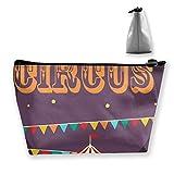 Bolsa de maquillaje de viaje con iconos de circo retro, bolsa de maquillaje, bolsa de almacenamiento, organizador con cremallera para mujeres y hombres