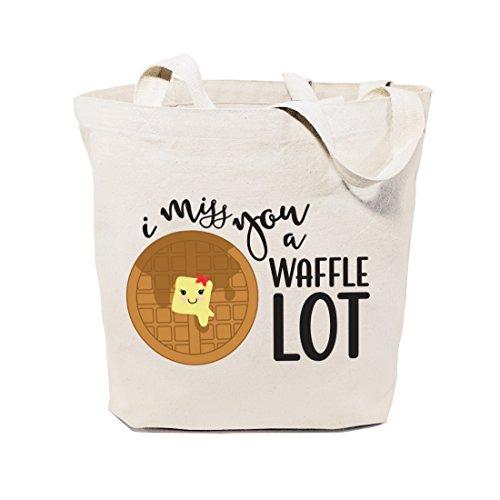The Cotton & Canvas Co. Food Pun - Bolsa reutilizable para comestibles y granjeros, Te extraño un montón de gofres, L