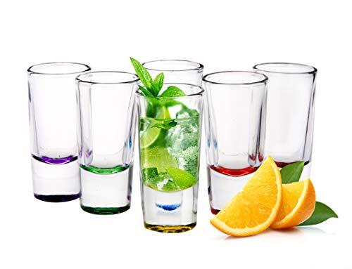 Sendez 6 Schnapsgläser Tequilagläser Schnaps Shots Wodkagläser Stamper Bunte Gläser