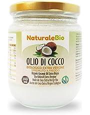 Olio di Cocco Biologico Extra Vergine 200 ml. Crudo e Spremuto a Freddo. 100% Organico, Naturale e Puro. Bio Nativo e non Raffinato. Paese di Origine Sri Lanka. NATURALEBIO