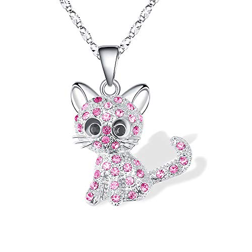 Cheerslife Kitty Katze Anhänger Halskette Schmuck für Frauen Mädchen Kinder, Katzenliebhaber Geschenke Tochter liebte Halskette 18 + 2,3 Zoll Kette, ROSA