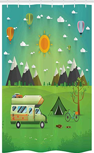 ABAKUHAUS happy Camper Douchegordijn, Outdoors Caravan, voor Douchecabine Stoffen Badkamer Decoratie Set met Ophangringen, 120 x 180 cm, Veelkleurig