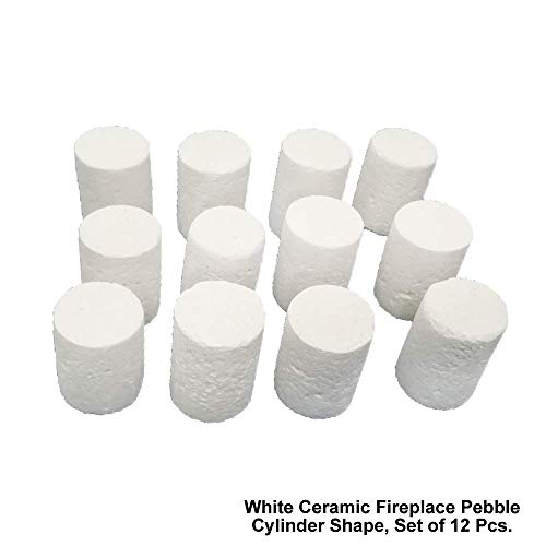 12 Piece Set of Cylinder Shape Light Weight Ceramic Fiber Pebbles For All Types of Indoor, Gas Inserts, Ventless & Vent Free, Propane, Gel, Ethanol, Electric or Outdoor Stoves, Fireplaces & Fire Pits.