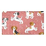 Alfombrilla antideslizante para bañera de bebé, antideslizante, con ventosas, cachorros, beagle, dálmata, Jack Russell Tterrier, color rosa, alfombrilla de ducha