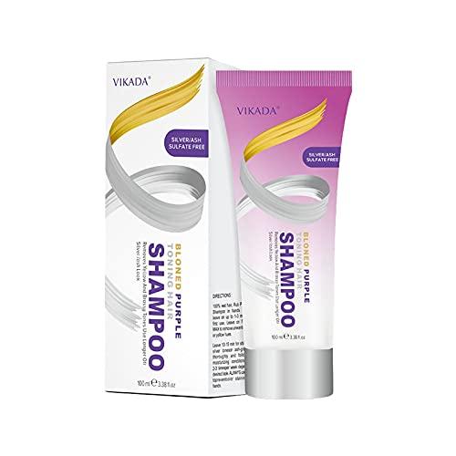 Silber Shampoo - Anti-Gelbstich Purple Shampoo für blonde, blondierte, gesträhnte und graue Haar - Graufärben die Farbe fixieren,Entfärbtes silbernes Haarfärbemittel