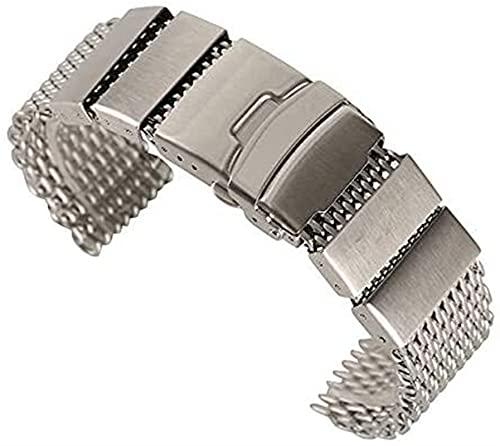 chenghuax Correa de reloj creativa, 20/22/24 mm HQ de acero inoxidable, correas de cierre plegables, reemplazos con 2 barras de resorte pulsera (color: plata, tamaño: 24 mm)
