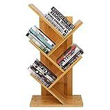Estantería de bambú de Barbieya, estantería de pie en forma de árbol, estantería de pie de 4 niveles, almacenamiento de revistas de libros para oficina y hogar, organizador de almacenamiento para CD