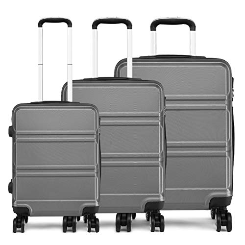 Kono Lightweight Hard Shell 4 Wheels Travel Trolley Suitcase Luggage Sets (20'/24'/28')