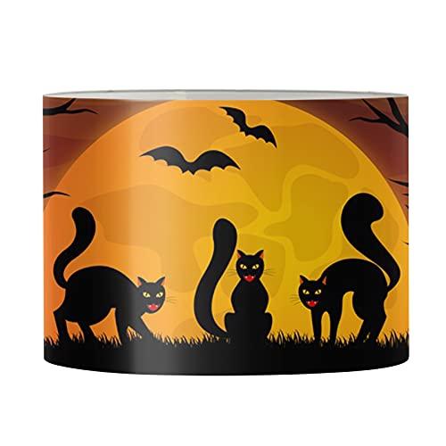 HUGS IDEA Pantalla de lámpara de PVC para lámpara de Halloween, gato negro murciélago luna naranja, cubierta de lámpara redonda marco de metal para mesita de noche dormitorio lámpara de mesa - L