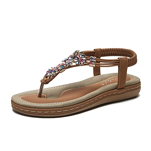 Zomer Platte Sandalen Voor Dames Dames Teen Schoenen Wandelsandalen Casual Peep Toe Lage Sleehak Anti Slip Slippers Outdoor Strass Slingback Strand Sandalen Voor Vakantie, Bruin, 43