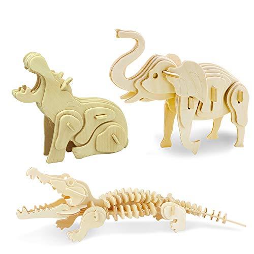 Georgie Porgy Rompecabezas de Madera 3D Puzzle de Modelo Colección de de Animales Juguete de Construcción Kit Kids Jigsaw Toy Edad 5+ (3 Piezas) (Ippopotamo Coccodrillo Elefante)