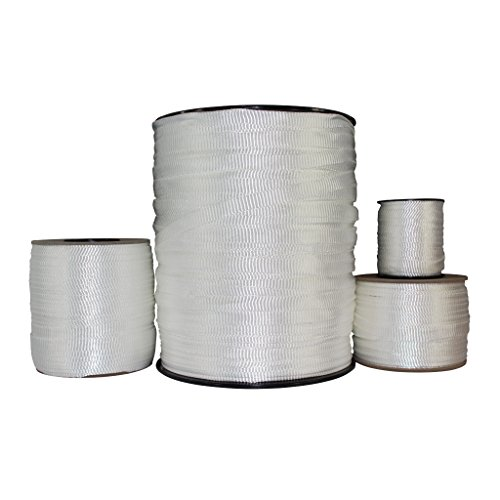 Polyester Pull Tape (5/8 inch) - SGT KNOTS - Professional Grade Pre-Lubricated Polyester Mule Webbing - Lightweight Flat Rope - Crafting, Commercial Electrical, Tie Downs, More (300 ft - White)