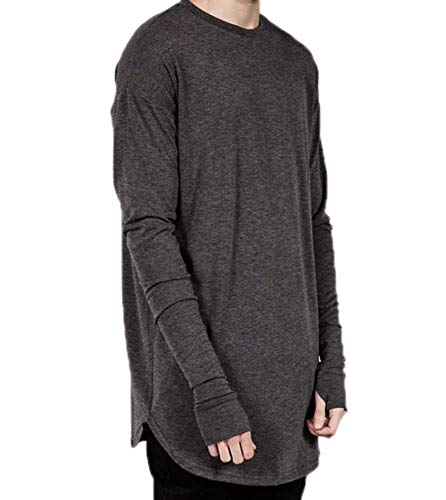 Hombre Hip Hop Camisas - Manga Larga Camiseta con Agujeros para el Pulgar Moda Color Sólido Casuales Blusa T-Shirt Tops