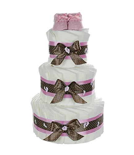 dubistda© XXL Windeltorte für Mädchen mit Babybooties rosa / 59-teilig / 3-stöckig