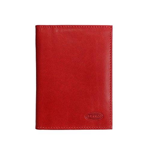 Branco Leder - kleine edle Dokumentenmappe, Ausweishülle, Führerscheinhülle, Kartenmappe in versch. Farben - präsentiert von ZMOKA® (Rot)