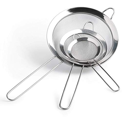 Stainless Steel Strainers with Long Handles - Set of 3