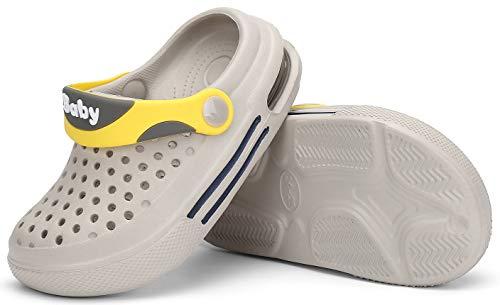 SAGUARO Zuecos Niños Sandalias de Playa Unisex Niños Chanclas Zapatillas de Estar Zapatos de Agua Zapatos de Piscina Gris 30/31 EU
