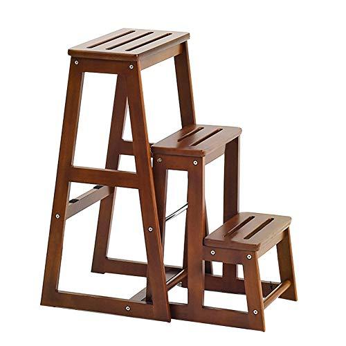 ZENFAI Tabouret D'échelle Escabeau En Bois Ménage Escabeau Changement De Banc À Chaussures Pliable Escaliers Chaises, Usage Double (taille : 380X610X700MM)