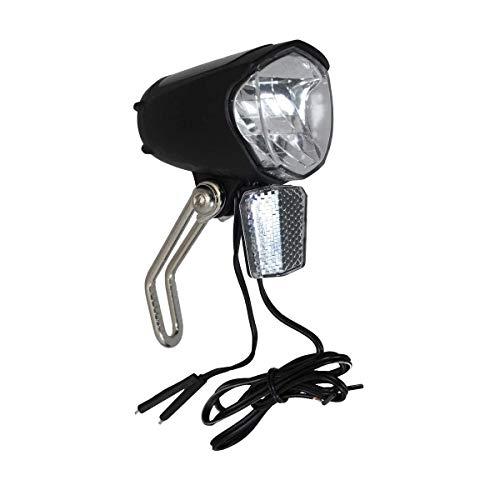 P4B | LED Scheinwerfer - Für Nabendynamo mit AN/AUS Schalter | 75 Lux | Mit Sensor und Standlicht | Mit NIRO - Halter | StVZO zugelassen