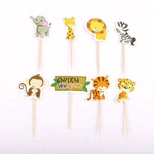 ERFHJ 24 stuks/pak schattige Safari jungle dier cupcake topper pick-up kinderen verjaardag taart decoratie evenement partij benodigdheden