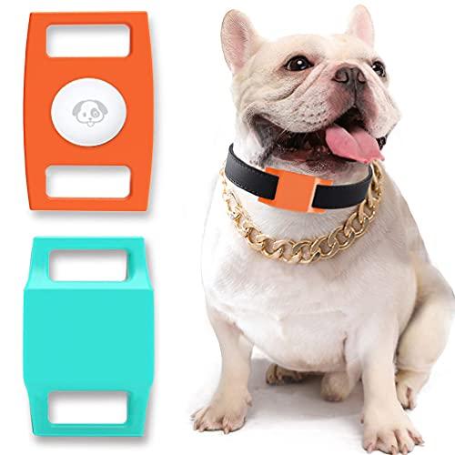 Gmili [2] Funda de Silicona para AirTag, Rastreador GPS Funda Compatible con Apple Air Tag como Colgante para Collar de Perro/Gato para Colocar el rastreador AirTag en el Collar de Mascotas