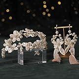 XXXXW Tocados de Boda Conjunto de 2 Accesorios para el Cabello de la Boda de la Diadema Pearl Bridal Tiara Headband Hairbands Pein Hoop Pendiente Set Crown Hair Jewelry Tocado Novia