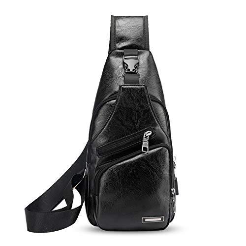 FANDARE Hombre Bolso Pecho, Impermeable Bandoleras Cruzada, Gimnasio Hiking Gym Bag Ciclismo Bolso de Carga USB, Senderismo Bolso Bandolera Impermeable PU Negro