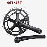 TLBBJ Bicycle Sprocket 39/46 / 48 / 53T 170mm Sola Velocidad Bicicleta Fija del Engranaje de Plegado 130 BCD aleación de Aluminio Plato chainwheel Fixie Crank Set Replaceable (Color : 46Tblack)