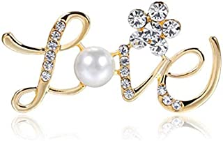 Love Shape Imitation Pearl Rhinestones Brooch Pin for Party and Activities