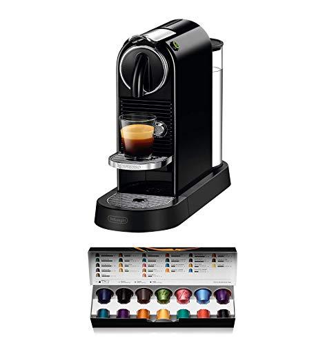 Nespresso De'Longhi Citiz EN167.B - Cafetera monodosis de cápsulas Nespresso, compacta, 19 bares, apagado automático, color negro, Incluye pack de bienvenida con 14 cápsulas