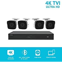 LaView 8MP 3840x2160 IP Camera 8 Channel H.265 DVR 4K Output 1TB HDD Security System with 6 x 8MP Full HD / 4K (3840x2160) In/O