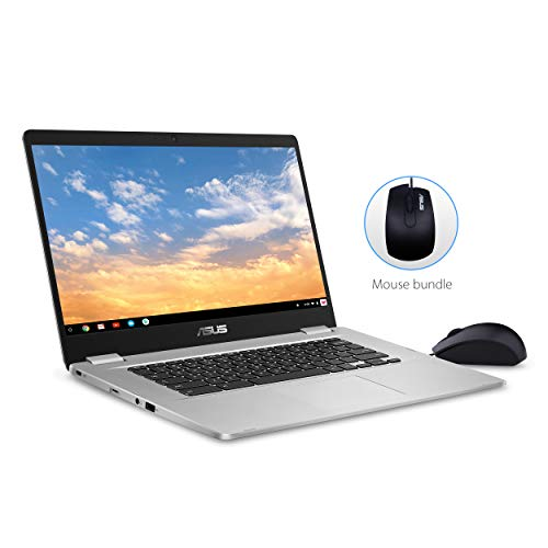 ASUS Chromebook C523 Laptop- 15.6' Full HD NanoEdge Touchscreen, Intel Quad Core Pentium N4200 Processor, 4GB RAM, 64GB eMMC Storage, Optical Mouse Included, USB Type-C, Chrome OS, C523NA-IH24T Silver