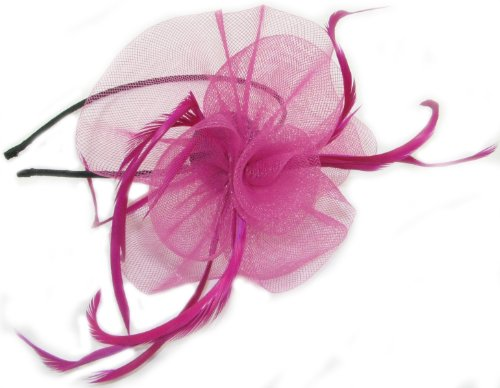 crysta innovations REF 4000 (pink) Looped net and feather with centre detail fascinator on a narrow black aliceband by crystal innovations
