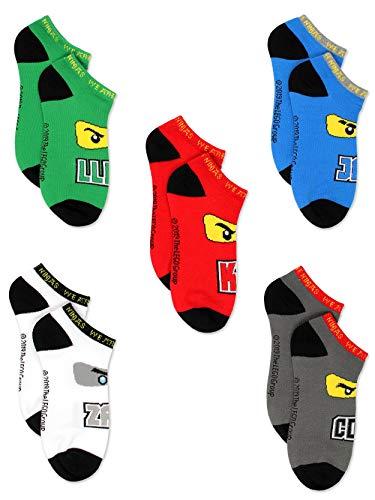 Lego Ninjago Kids Boys 5 pack No Show Sock Set (Shoe: 10-4 (Sock: 6-8), Lego Ninjago 5 pk)