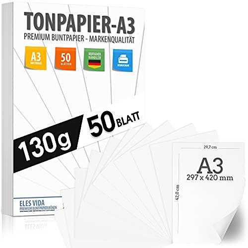50 papel de construcción BLANCO 130g / m² PAPEL PREMIUM blanco puro - blanco nieve - DIN A3-29,7 x 42 cm - papel de impresora blanco sin imprimir para fotografía, presentaciones - HECHO EN ALEMANIA